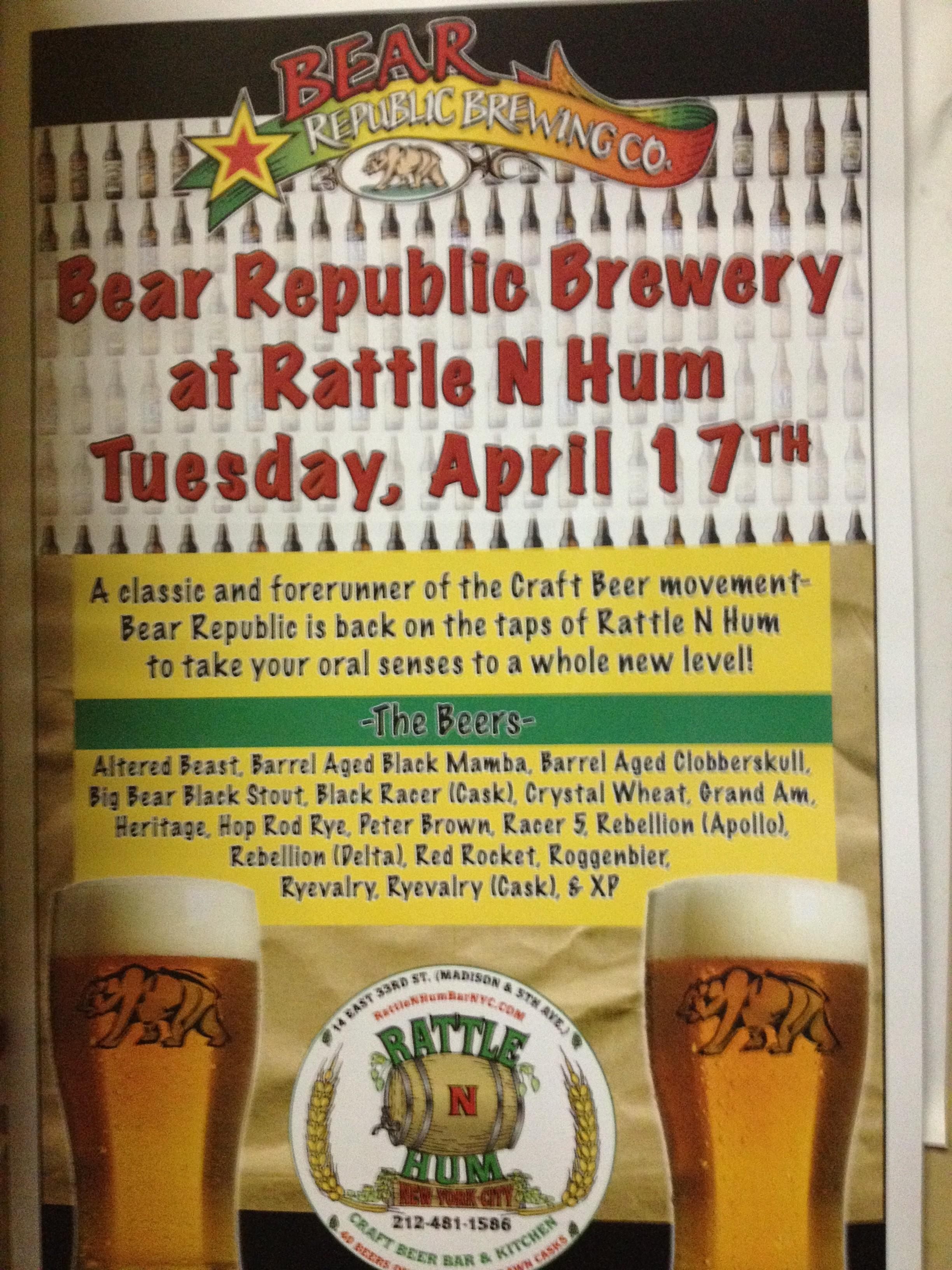 Bear Republic Brewery Night | Rattle N Hum Bar Blog